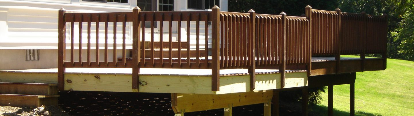 New deck installation and railing