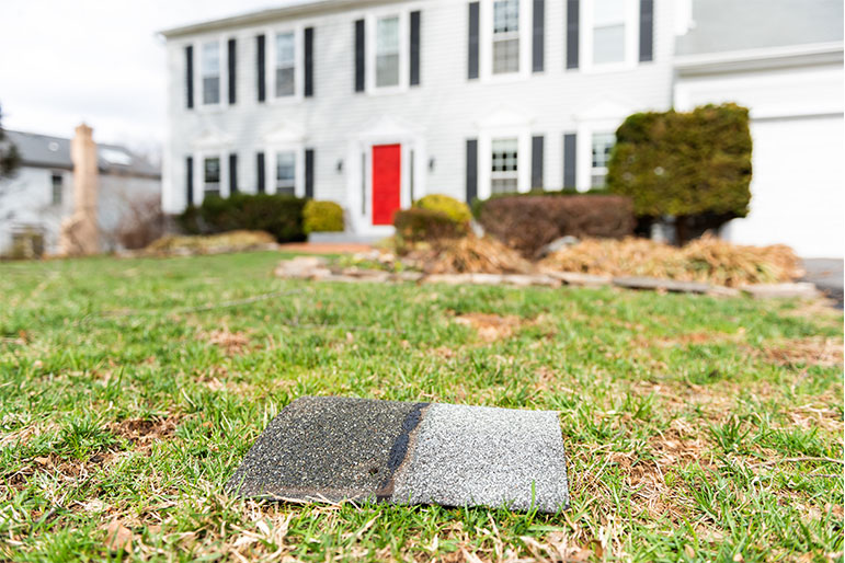 roof tile shingle in front yard
