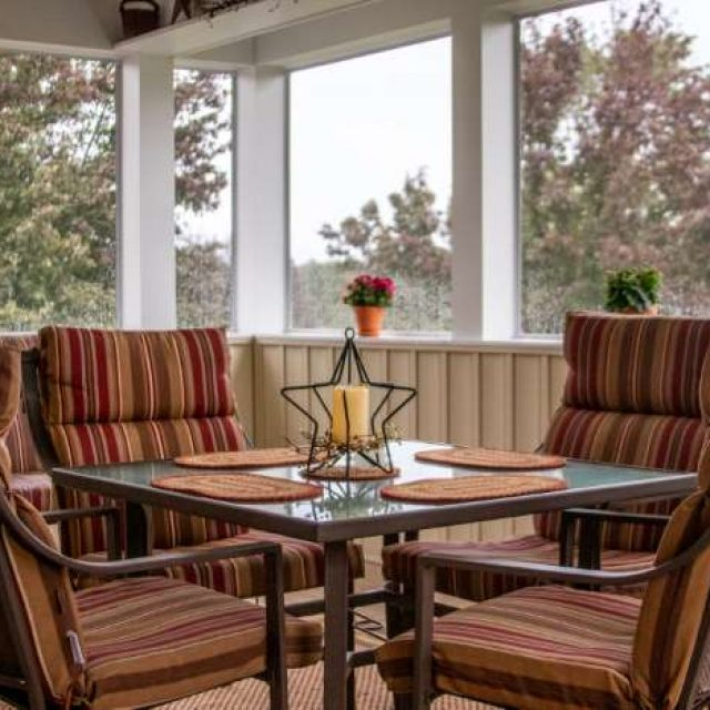 screened in porch renovation with dining area in york pa