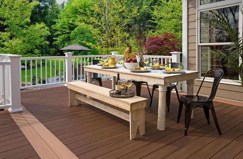 deck color schemes for a tan house