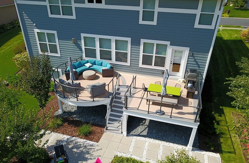 deck color trends for a blue house