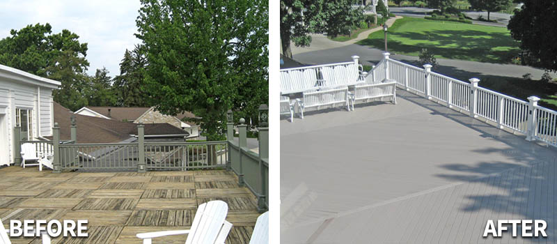 Before and after deck restoration services