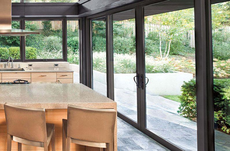 new black sliding patio door