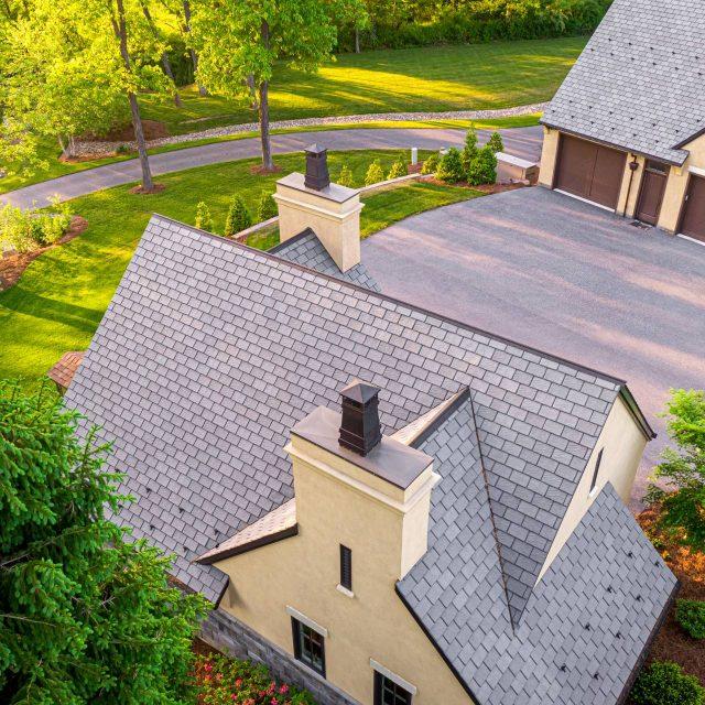 garage with slate roof shingles