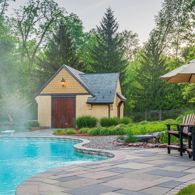 pool house with marvin signature door