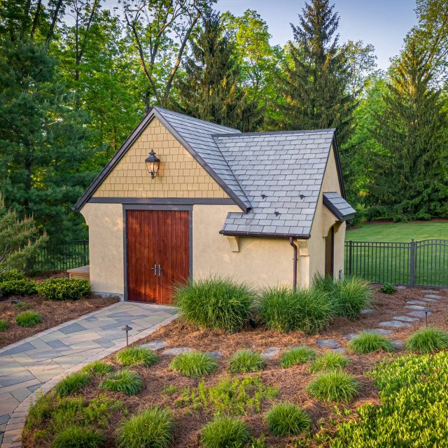 pool house with fiber cement siding